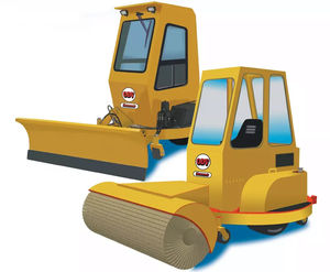 runway snow plow / with tilting blade / with brush