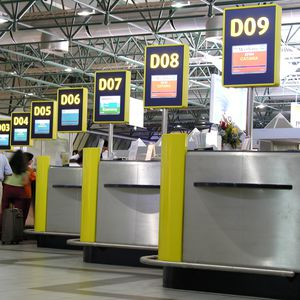 check-in counter / boarding / for airports