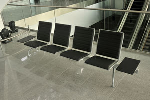 airport beam chairs / 4-seater / metal / leather