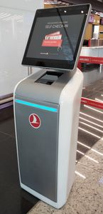 check-in kiosk with printer / with barcode reader / with passport reader / with boarding pass reader