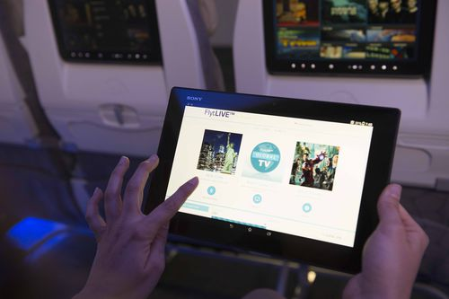 aircraft cabin inflight connectivity / satellite telephone / live TV broadcast