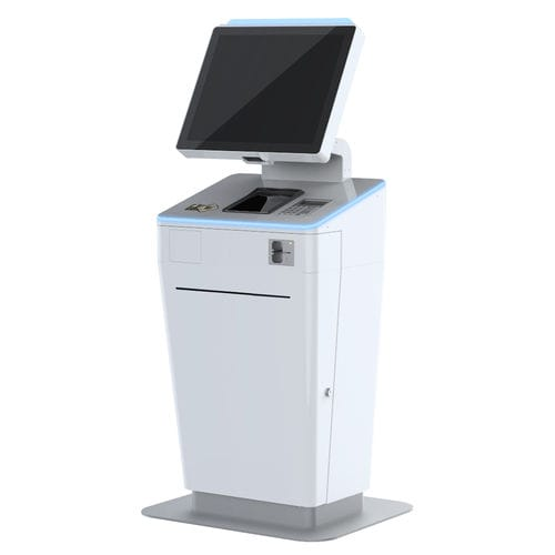 check-in kiosk with passport reader / with printer / with barcode reader / with card payment system