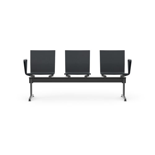 airport beam chair / 3-seater / leather / plastic