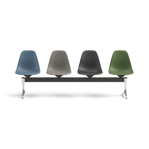 airport beam chair / 4-seater / leather / plastic