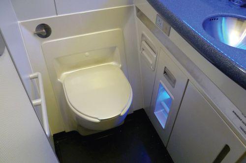 economy class aircraft toilet