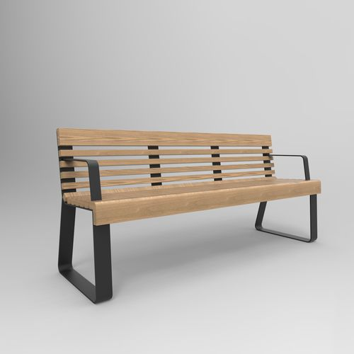 airport bench / metal / wooden / with armrests