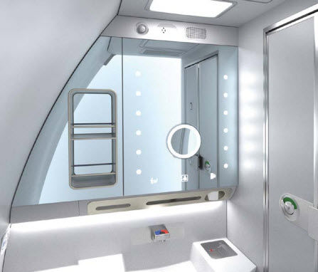 aircraft toilet with touchless faucet