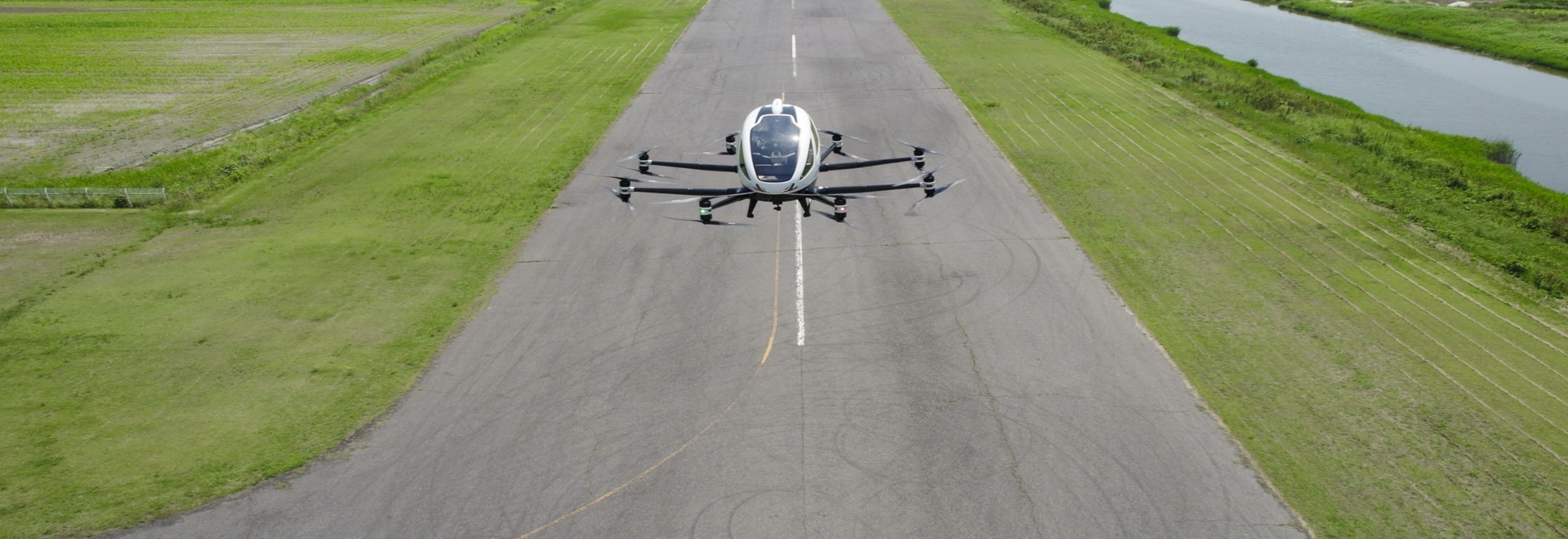 The EHang 216 AAV conducting trial flights in Japan