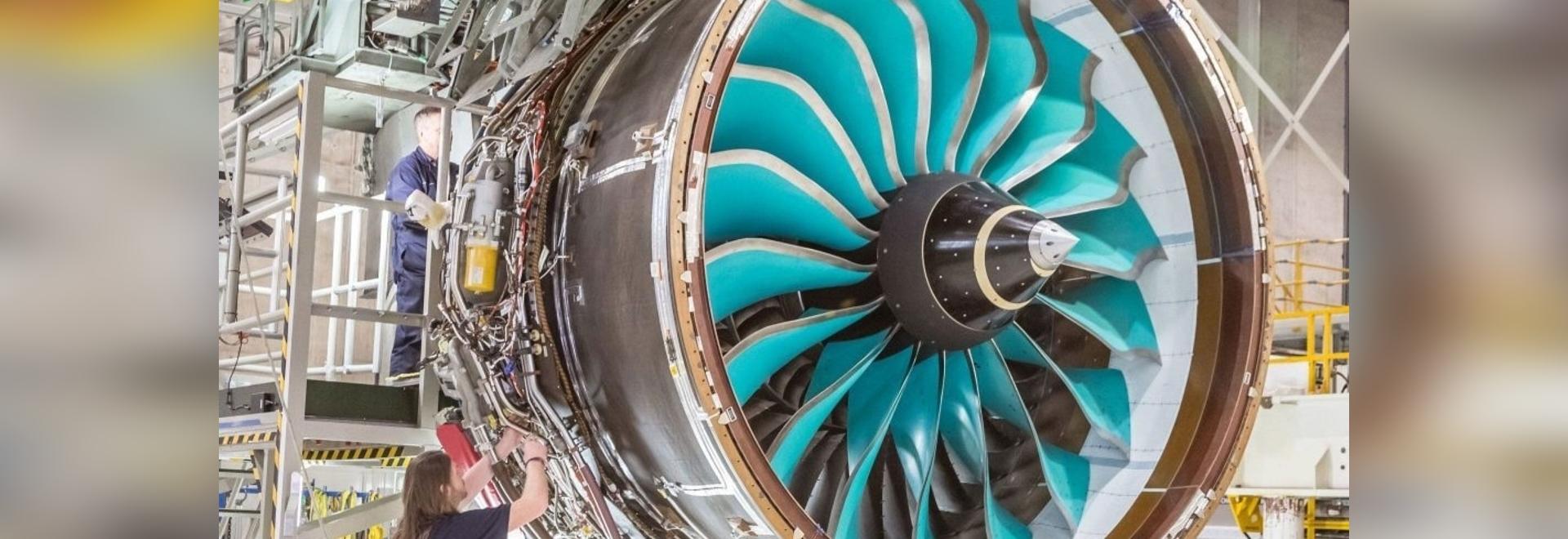 Rolls-Royce engineers in Derby, UK, prepare to test the UltraFan's composite fan system.