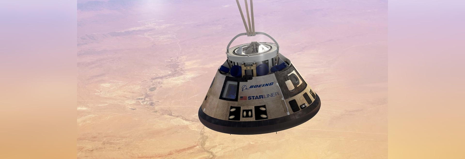 Starliner descending to the US Army's White Sands Missile Range