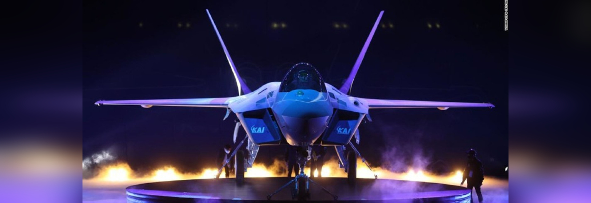 A view of South Korea's first prototype of the next-generation fighter, officially dubbed KF-21 Boramae, being revealed at the Korea Aerospace Industries Co. facility in Sacheon, South Korea on Fri...
