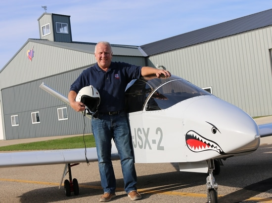 John Monnett with SubSonex JSX-2 N241SJ after completing the second JSX-2's first flight in October, 2015