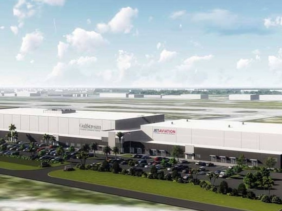 An artist rendering shows the planned expansion of Jet Aviation's FBO at Florida's Palm Beach International Airport and adjoining new Gulfstream service center. The facility is expected to be compl...