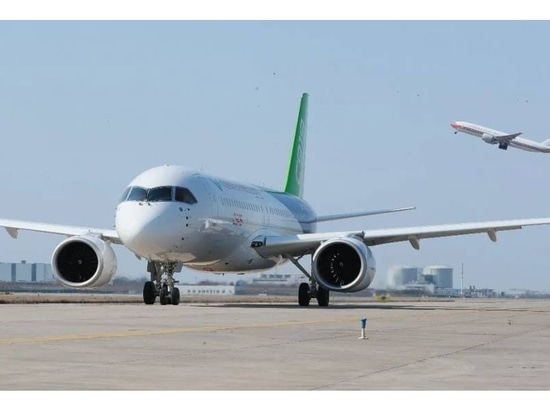 The sixth C919 test article prepares to fly in Shanghai.