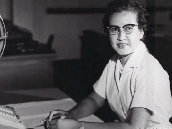 NASA research mathematician Katherine Johnson at her desk at Langley Research Center in Hampton, Virginia.