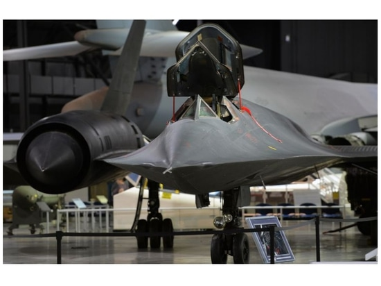 The SR-71 Blackbird commands attention at the National Museum of the United States Air Force.