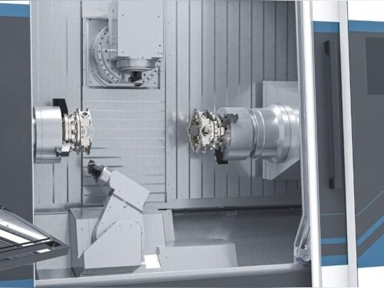 Two B-axis systems in one machine for simultaneous B-axis turning