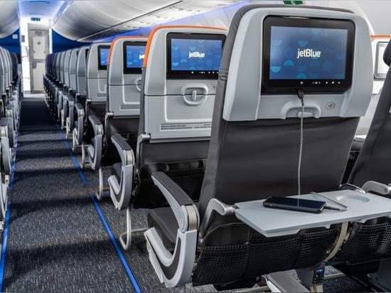 JetBlue's new A220 features a sleek new cabin, mirroring the carrier's latest fleet