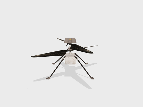3D model of the Mars 2020 Ingenuity Helicopter.