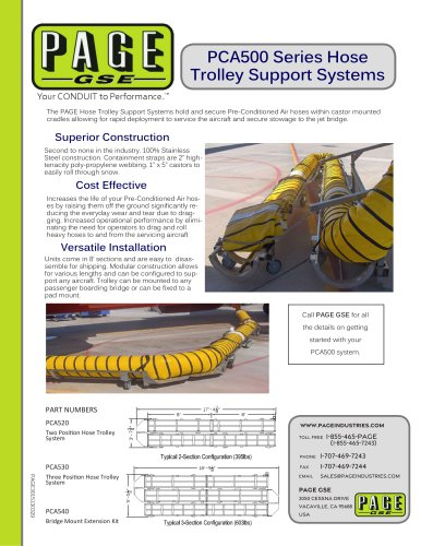 PCA500 Series Hose Trolley Support Systems