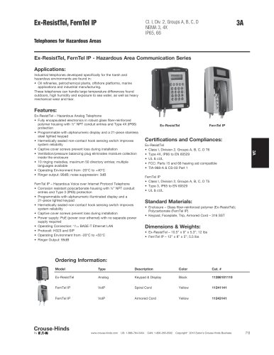 Ex-ResistTel, FernTel IP Hazardous Area Telephones
