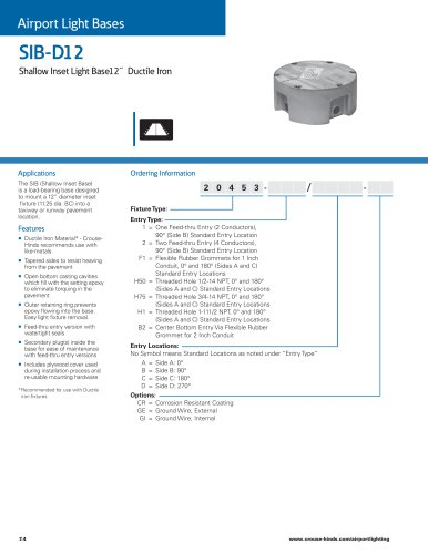 IB-D12 Shallow Inset Light Base - 12