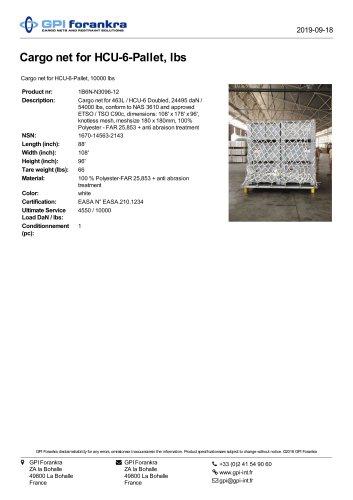 Cargo net for HCU-6-Pallet, lbs