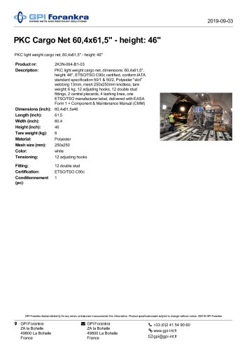 """PKC Cargo Net 60,4x61,5"""" - height: 46"""""""