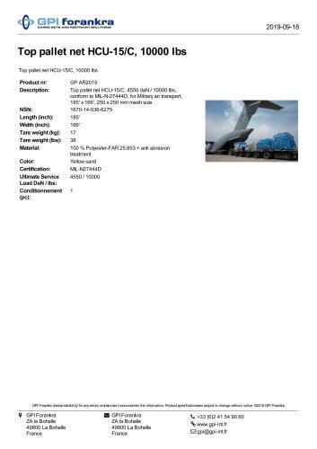 Top pallet net HCU-15/C, 10000 lbs