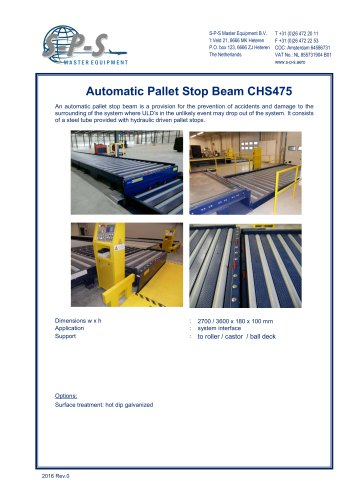 AUTOMATIC PALLET STOP BEAM CHS475