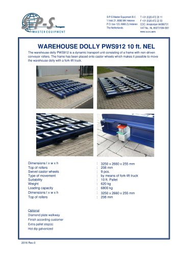 WAREHOUSE DOLLY PWS912 10 FT. NEL