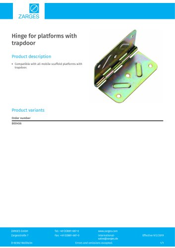 Hinge for platforms with trapdoor