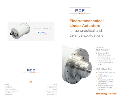 Electromechanical Linear Actuators for aeronautical and defence applications