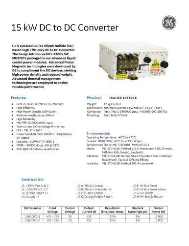 15 kW DC to DC Converter