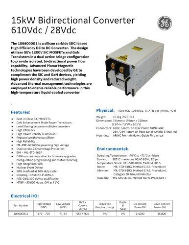 15kW Bidirectional Converter 610Vdc / 28Vdc