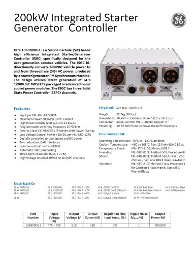 200kW Integrated Starter Generator Controlle