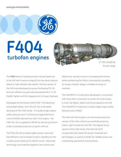 F404 turbofan engines