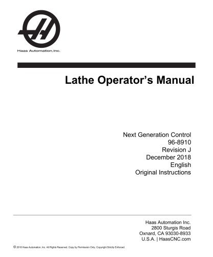 Lathe Operator's Manual