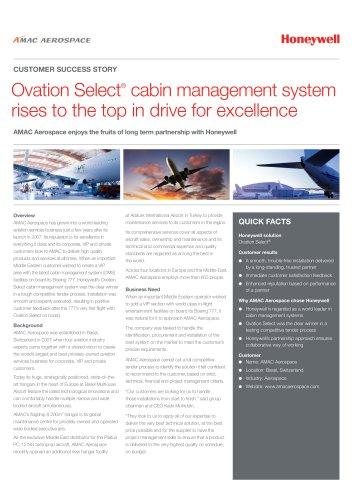 AMAC Aerospace continues drive for excellence with selection of Honeywell Ovation Select cabin management system
