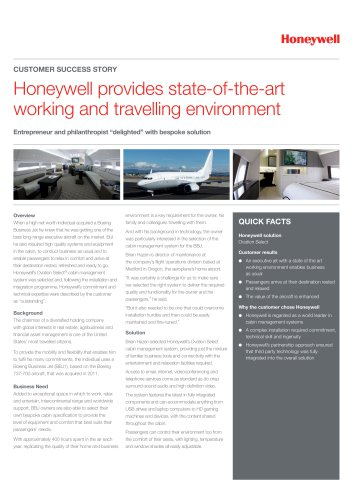 Entrepreneur and philanthropist solicits Honeywell to provide state-of-the-art working and traveling environment