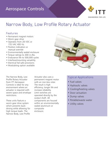 Narrow Body, Low Profile Rotary Actuator