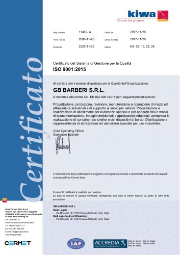 Certificate ISO 9001 – 2015