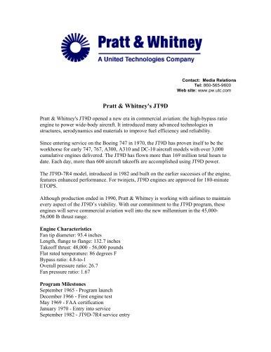 Pratt & Whitney's JT9D