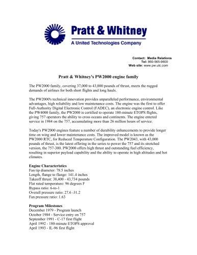 Pratt & Whitney's PW2000 engine family