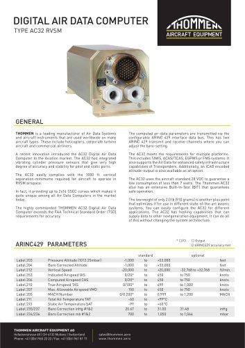 DIGITAL AIR DATA COMPUTER TYPE AC32 RVSM