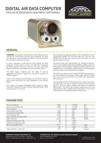 THOMMEN AC32 Air Data Computer Datasheet
