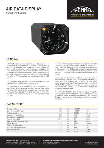 THOMMEN AD32 Air Data Display - Datasheet
