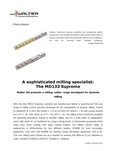 Walter AG presents a milling cutter range developed for dynamic milling
