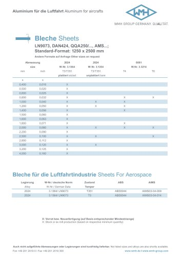 Aluminum for aircrafts Bleche Sheets