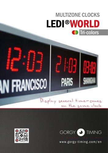 Multizone clocks LEDI WORLD tri-colors